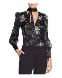 Rebecca Taylor - Black Violet Tie-neck Silk Blouse - Lyst