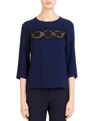 Gerard Darel - Blue Lola Lace Inset Keyhole Top - Lyst