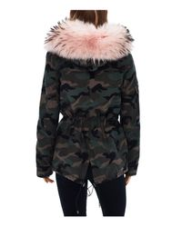 Sam. - Black Camo Twill Fur Trim Mini Hudson Parka - Lyst