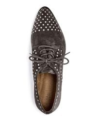 Frye - Gray Erica Stud Embellished Suede Lace Up Oxfords for Men - Lyst