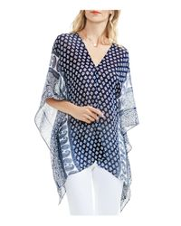 Vince Camuto - Blue Playful Print Poncho - Lyst