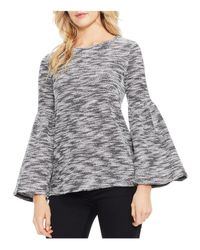 Vince Camuto - Black Bell Sleeve Space-dyed Slub Knit Top - Lyst