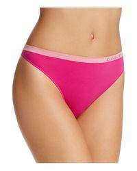 Calvin Klein - Purple Pure Seamless Thong Qd3544 - Lyst