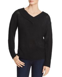 Aqua - Black V-back Tunic Sweater - Lyst