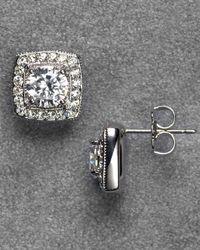 Nadri | Metallic Framed Crystal Stud Earrings | Lyst