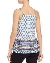 Aqua - Blue Flounce-hem Tile Print Camisole - Lyst