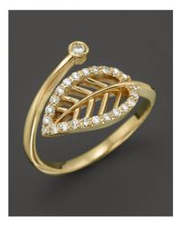KC Designs - Metallic Diamond Leaf Midi Ring In 14k Yellow Gold - Lyst