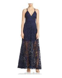 Aqua - Blue Crisscross Lace Maxi Dress - Lyst