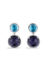 David Yurman | Châtelaine Double-drop Earrings With Black Orchid & Blue Topaz | Lyst