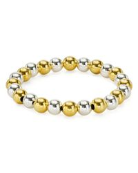 Aqua - Metallic Beaded Stretch Bracelet In 18k Gold-plated Sterling Silver And Sterling Silver - Lyst
