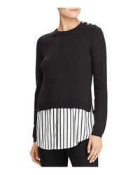 Ralph Lauren - Black Lauren Button Shoulder Shirttail Sweater - Lyst