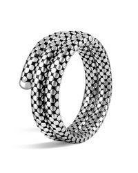 John Hardy | Metallic Sterling Silver Dot Double Coil Bracelet | Lyst