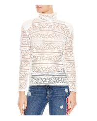 Sandro | White Hamia Floral-lace Top | Lyst