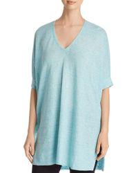 Eileen Fisher - Blue Organic Linen V-neck Tunic - Lyst