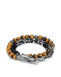 John Hardy | Brown Men's Naga Double Wrap Link Bracelet With Tiger's Eye for Men | Lyst
