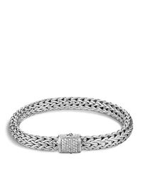 John Hardy | Metallic Classic Chain Sterling Silver Medium Bracelet With Diamond Pave | Lyst