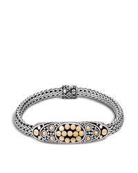 John Hardy | Metallic Sterling Silver And 18k Bonded Gold Dot Deco Oval Station Bracelet | Lyst