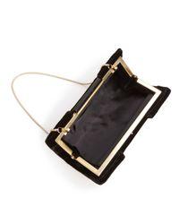 Sondra Roberts - Black Frame Pleated Velvet Clutch - Lyst