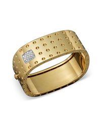 Roberto Coin - Metallic 18k Yellow Gold Pois Moi Four Row Diamond Cuff - Lyst
