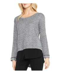 Vince Camuto - Gray Herringbone Layered Look Top - Lyst