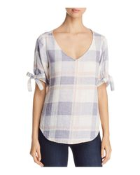 Side Stitch - Multicolor Tie Cuff Plaid Top - Lyst