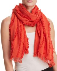 Eileen Fisher - Red Silk Frayed-trim Scarf - Lyst