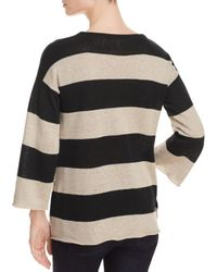Eileen Fisher - Black Striped Organic Linen Sweater - Lyst