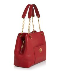 Tory Burch - Red Chelsea Small Slouchy Tote - Lyst