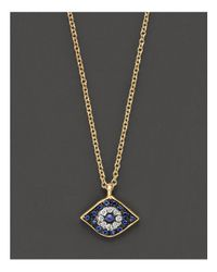 Meira T | Metallic Diamond, Sapphire And 14k Yellow Gold Evil Eye Pendant Necklace, 16"