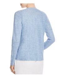 Eileen Fisher | Blue Drape Front Grid Cardigan | Lyst