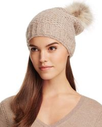 Inverni - Natural Slouchy Beanie With Coyote Fur Pom-pom - Lyst