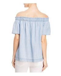 Side Stitch - Blue Off-the-shoulder Chambray Top - Lyst