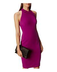 Karen Millen - Purple Cutout Pencil Dress - Lyst