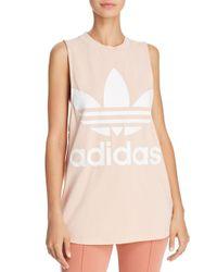 876e956f7398 adidas Originals Trefoil Tank Top in Pink - Lyst