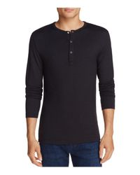 Theory - Black Long Sleeve Snapped Henley for Men - Lyst