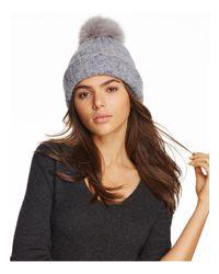Inverni - Gray Melange Arctic Fox Fur Pom-pom Beanie - Lyst
