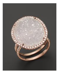 Meira T - Pink 14k Rose Gold Druzy Ring With Diamonds - Lyst