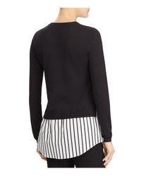 Ralph Lauren - Black Lauren Button Shoulder Shirttail Sweater - Lyst