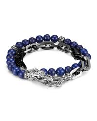 John Hardy | Blue Men's Naga Silver Double Wrap Stainless Steel Link Bracelet With Lapis Lazuli for Men | Lyst