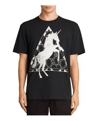 AllSaints - Black Unicorn Tee for Men - Lyst
