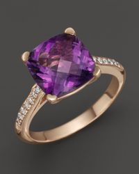 Lisa Nik | Purple 18k Rose Gold Amethyst And Diamond Ring | Lyst