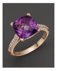 Lisa Nik | Purple 18k Rose Gold Amethyst And Diamond Ring | Lyst
