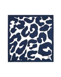 Tory Burch - Blue Clouded Leopard Silk Scarf - Lyst