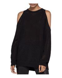 BCBGeneration - Black Open Stitch Cold-shoulder Sweater - Lyst