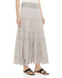 Halston Heritage - Multicolor Tiered Smocked Midi Skirt - Lyst