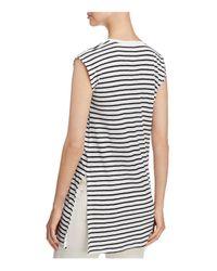 Eileen Fisher - Black Striped Organic Linen Round Neck Tunic - Lyst