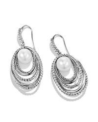 David Yurman - Metallic Pearl Crossover Drop Earrings With Diamonds - Lyst
