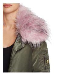 Guess - Green Joy Faux Fur-collar Parka - Lyst