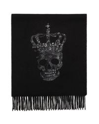 John Varvatos - Black Punched Skull Wool Scarf for Men - Lyst