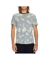 Scotch & Soda - Blue Striped Washed Crewneck Tee for Men - Lyst